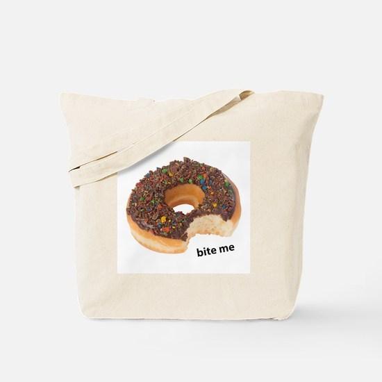 bite me donut. chocolate donuts Tote Bag