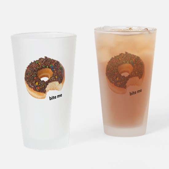 bite me donut. chocolate donuts Drinking Glass