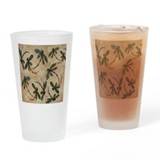 Dragonfly Flit Rustic Cream Drinking Glass