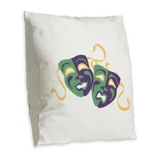 Happy Sad Drama Acting Theatre Masks Burlap Throw