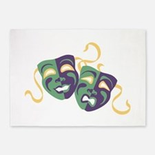 Happy Sad Drama Acting Theatre Masks 5'x7'Area Rug