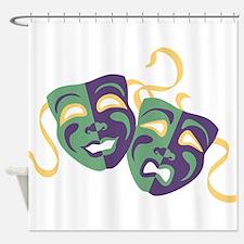 Happy Sad Drama Acting Theatre Masks Shower Curtai