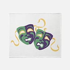 Happy Sad Drama Acting Theatre Masks Throw Blanket