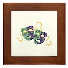 Happy Sad Drama Acting Theatre Masks Framed Tile