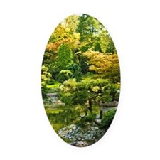 Japanese garden, early autumn Oval Car Magnet