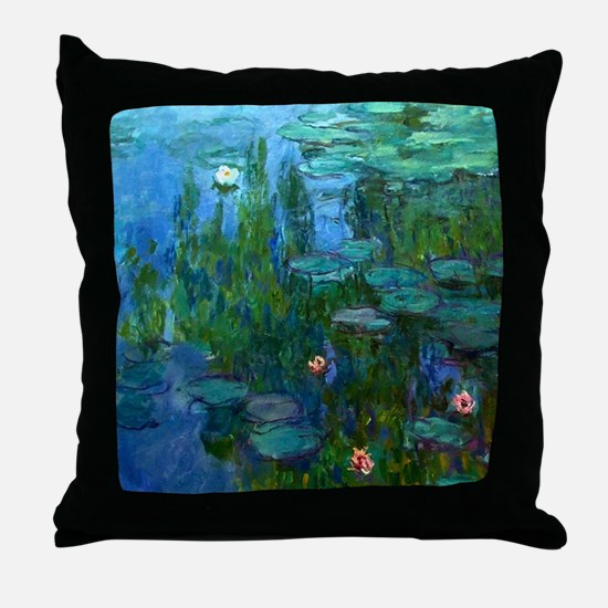 monet nymphea lily pond giverny Throw Pillow