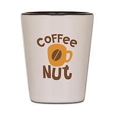 Coffee NUT with cute orange mug Shot Glass