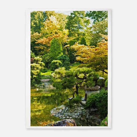 Japanese garden, early autumn 5'x7'Area Rug