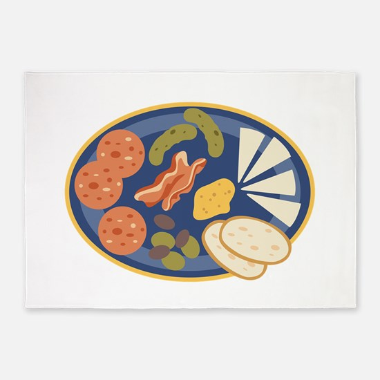 Charcuterie Platter Appetizers Food 5'x7'Area Rug