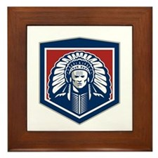 Native American Chief Shield Retro Framed Tile