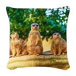 Meerkats standing guard Woven Throw Pillow