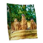 Meerkats standing guard Burlap Throw Pillow