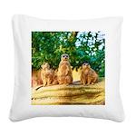 Meerkats standing guard Square Canvas Pillow