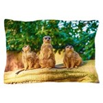 Meerkats standing guard Pillow Case