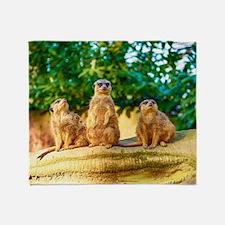 Meerkats standing guard Throw Blanket
