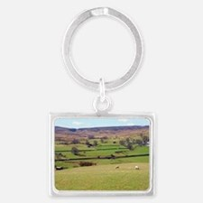 Sheep grazing near Wensleydale Landscape Keychain
