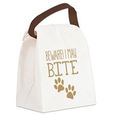 BEWARE! I may BITE! with cat or d Canvas Lunch Bag