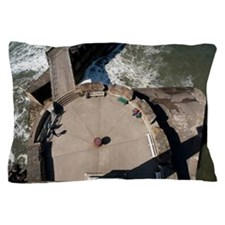 Aerial view of Whitby West Pier Pillow Case
