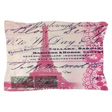 vintage scripts pink lace paris eiffel Pillow Case