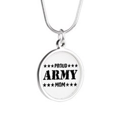 Proud Army Mom [v] Silver Round Necklace
