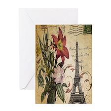 vintage lily paris eiffel tower post Greeting Card