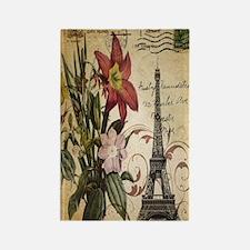 vintage lily paris eiffel tower p Rectangle Magnet