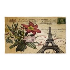 vintage lily paris eiffel tower pos 3'x5' Area Rug