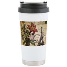 vintage lily paris eiff Travel Mug