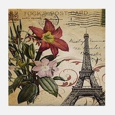 vintage lily paris eiffel tower posta Tile Coaster