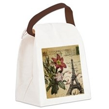 vintage lily paris eiffel tower p Canvas Lunch Bag