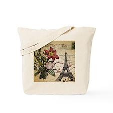 vintage lily paris eiffel tower postage a Tote Bag