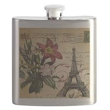 vintage lily paris eiffel tower postage art Flask