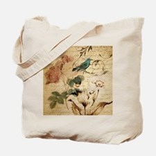 teal bird vintage roses swirls botanical  Tote Bag