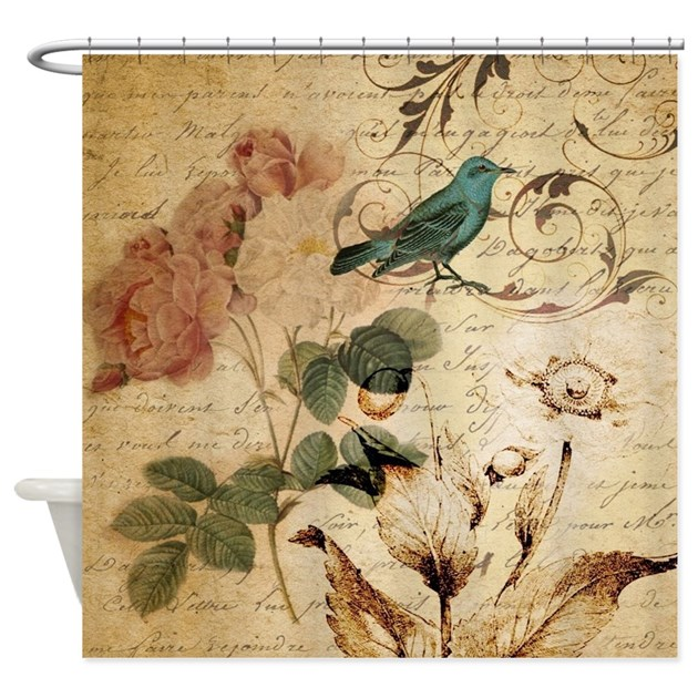 Teal Bird Vintage Roses Swirls Bota Shower Curtain By