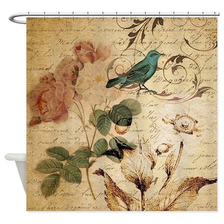 Superb Teal Bird Vintage Roses Swirls Bota Shower Curtain