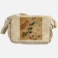 teal bird vintage roses swirls botan Messenger Bag