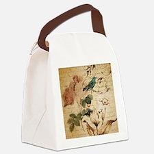 teal bird vintage roses swirls bo Canvas Lunch Bag