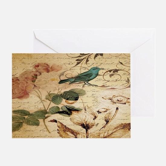 teal bird vintage roses swirls botan Greeting Card