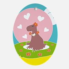 Capybara in Love Ornament (Oval)
