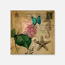 "seashells hydrangea butterf Square Sticker 3"" x 3"""
