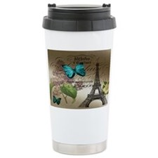 lilac butterfly eiffel  Travel Coffee Mug