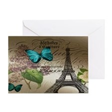 lilac butterfly eiffel tower paris p Greeting Card