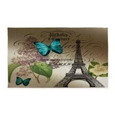 lilac butterfly eiffel tower paris  3'x5' Area Rug