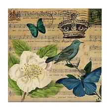 butterfly bird vintage floral music n Tile Coaster