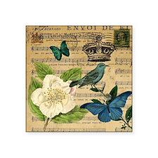 "butterfly bird vintage flor Square Sticker 3"" x 3"""