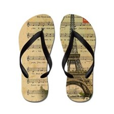 vintage music notes paris eiffel tower  Flip Flops