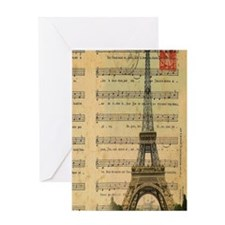 vintage music notes paris eiffel tow Greeting Card