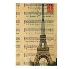 vintage music notes paris Postcards (Package of 8)