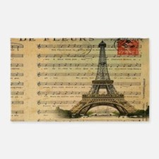 vintage music notes paris eiffel to 3'x5' Area Rug