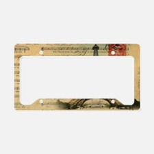 vintage music notes paris eif License Plate Holder